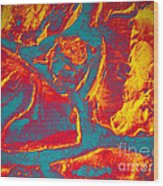 Fire Rocks Wood Print