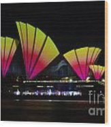Fire Sails - Sydney Vivid Festival - Sydney Opera House Wood Print