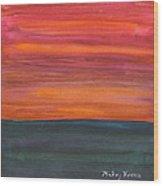 Fire Sky Over The Sea Wood Print