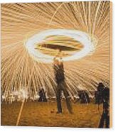 Fire Spinner Wood Print