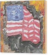 Fire Storm Flag Wood Print