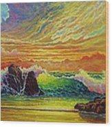 Fire Storm Sunset Wood Print