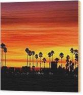 Fire Sunset In Long Beach Wood Print