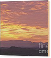 Fire Sunset Over Smoky Mountains Wood Print