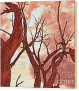 Fire Trees Wood Print