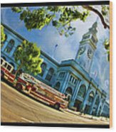 Fire Truck And Ferry Building Wood Print
