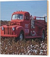 Fire Truck In The Cotton Field Wood Print