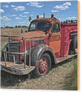 Fire Truck International Harvester C. 1946 Wood Print