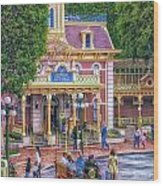 Fire Truck Main Street Disneyland Wood Print