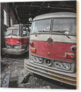 Fire Trucks Abandoned And Dirty Wood Print