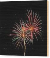 Fire Works In Sky Wood Print