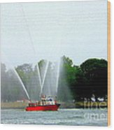 Fireboat Water Show On Long Island Sound Wood Print