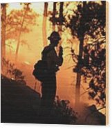 Firefighter At Night On The White Draw Fire Wood Print