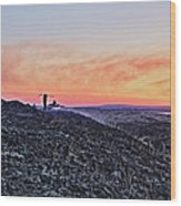 Firefighter At Sunset Wood Print by Tony Reddington
