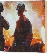 Firefighters At The Scene Wood Print