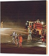 Firefighters At Work Wood Print