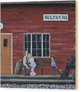 Train Station Mural Sultan Washington 3 Wood Print