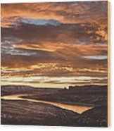 Firehole Sunset Wood Print