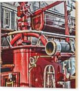 Fireman - Antique Brass Fire Hose Wood Print by Paul Ward