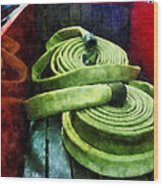 Fireman - Coiled Fire Hoses Wood Print