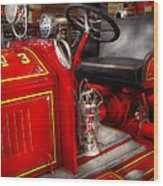 Fireman - Fire Engine No 3 Wood Print by Mike Savad