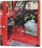 Fireman - Fire Truck With Fireman's Uniform Wood Print