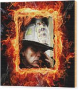 Fireman Hero Wood Print