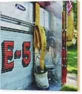 Fireman - Hose In Bucket On Fire Truck Wood Print