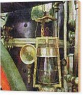 Fireman - Lantern On Fire Truck Wood Print