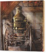 Fireman - Steam Powered Water Pump Wood Print