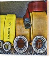 Fireman - The Fire Hose Wood Print