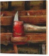 Fireman - The Fireman's Axe Wood Print by Mike Savad