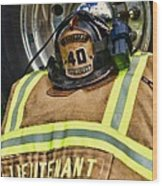 Fireman Turnout Gear Lieutenant Wood Print