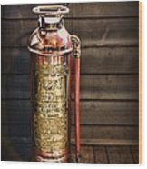 Fireman - Vintage Fire Extinguisher Wood Print