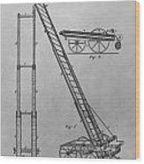 Fireman's Hydraulic Lift Patent Drawing Wood Print