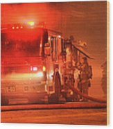 Firemen At Work Wood Print by Donald Torgerson
