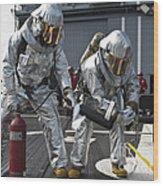 Firemen Confirm A Simulated Fire Wood Print