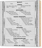 Firemen Dinner Menu - San Francisco - 1856 Wood Print