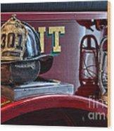 Firemen - Fire Helmet Lieutenant Wood Print