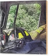 Firemen - Helmet Inside Cab Of Fire Truck Wood Print by Susan Savad