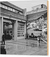firemen hosing down Vancouver fire rescue services hall 2 in downtown eastside  BC Canada Wood Print