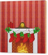 Fireplace Christmas Decoration Wth Stockings And Wallpaper Wood Print