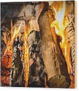 Fireplace II Wood Print