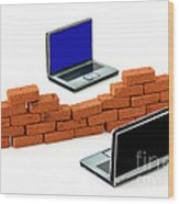 Firewall Protection For Laptops Wood Print
