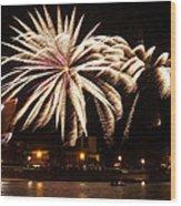 Firework Explosions Wood Print