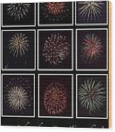 Fireworks - Black Background Wood Print