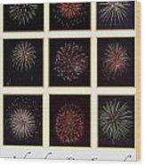 Fireworks - White Background Wood Print
