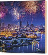Fireworks Above Bangkok City Wood Print