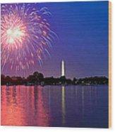 Fireworks Across The Potomac Wood Print