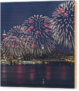 Fireworks And Full Moon Over New York City Wood Print